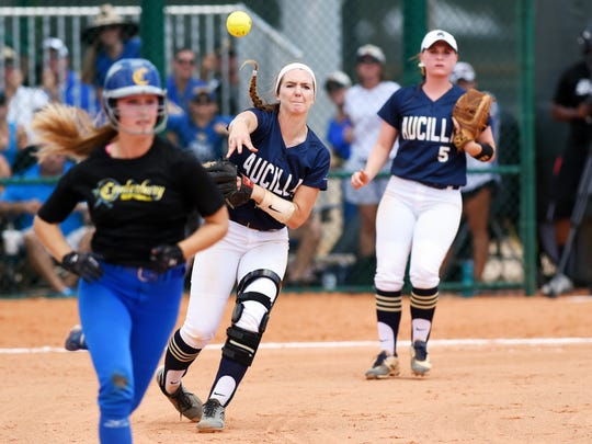 Aucilla Christian's Elizabeth Hightower makes the throw to first base Thursday, May 18, 2017 during the state title game against Canterbury during the FHSAA Class 2A state championship at Historic Dodgertown in Vero Beach. The Warriors lost 2-1 in nine innings.