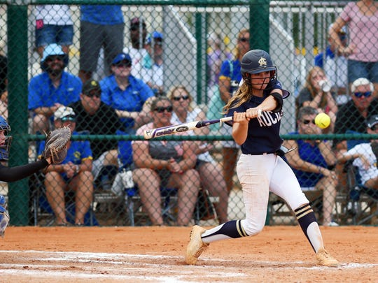 Aucilla Christian's Carly Joiner takes a swing at a pitch on Thursday, May 18, 2017 during the state title game against Canterbury during the FHSAA Class 2A state championship at Historic Dodgertown in Vero Beach. Aucilla Christian lost 2-1 in nine innings.