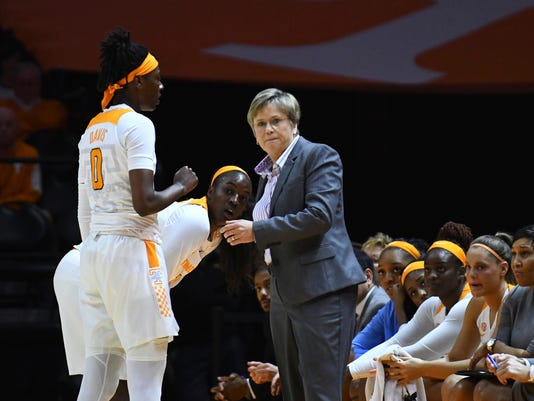 Tennessee head coach Holly Warlick takes a moment to talk to Tennessee guard/forward Rennia Davis (0)and guard Meme Jackson (10) during the first quarter of an NCAA college basketball game Sunday, Jan. 21, 2018. (Joy Kimbrough/The Daily Times via AP)
