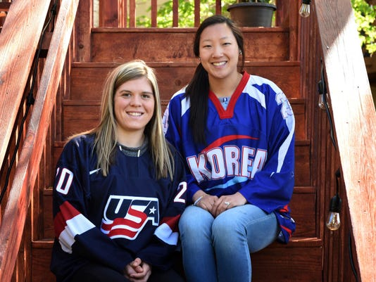 FILE- In this May 11, 2017 photo, sisters Hannah Brandt, left, and Marissa Brandt, pose at their family's home in Vadnais Heights, Minn. The pair will be playing in the upcoming Winter Olympics in women's hockey, Hannah for the U.S. and Marissa for South Korea. (Scott Takushi/Pioneer Press via AP, File)