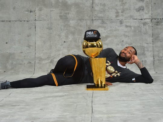 Mo Williams of the Cleveland Cavaliers poses for a portrait after winning the NBA Championship against the Golden State Warriors during the 2016 NBA Finals on June 19, 2016.