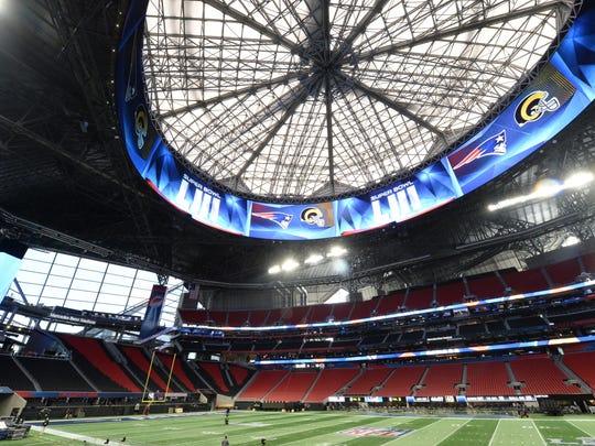 Jan 29, 2019; Atlanta, GA, USA; A general view during a stadium and field preparation press conference for Super Bowl XLIII at Mercedes-Benz Stadium. Mandatory Credit: John David Mercer-USA TODAY Sports