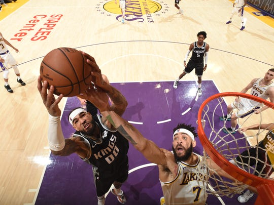 LOS ANGELES, CA - DECEMBER 30: Willie Cauley-Stein #00 of the Sacramento Kings goes up for dunk against the Los Angeles Lakers on December 30, 2018 at STAPLES Center in Los Angeles, California. NOTE TO USER: User expressly acknowledges and agrees that, by downloading and/or using this Photograph, user is consenting to the terms and conditions of the Getty Images License Agreement. Mandatory Copyright Notice: Copyright 2018 NBAE (Photo by Andrew D. Bernstein/NBAE via Getty Images)