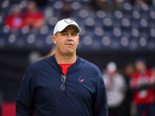 Houston Texans' coach Bill O'Brien watches his team warm up before an NFL football game against the Tennessee Titans Sunday, Dec. 29, 2019, in Houston. (AP Photo/Eric Christian Smith)