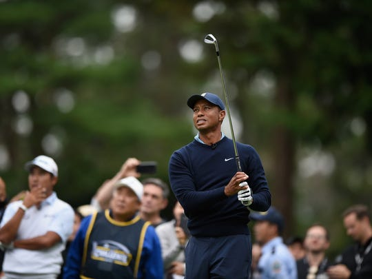 Oct 21, 2019; Chiba, JAPAN; Tiger Woods plays a tee shot on the 7th hole during The Challenge: Japan Skins golf competition at Accordia Golf Narashino Country Club. Mandatory Credit: Matt Roberts-USA TODAY Sports