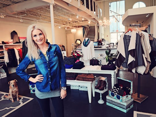 "Rebekah Risbeck, owner of  Mint LA boutique in the East Village of Des Moines, fears a Polk County penny sales tax ""would be a negative impact on my business."""