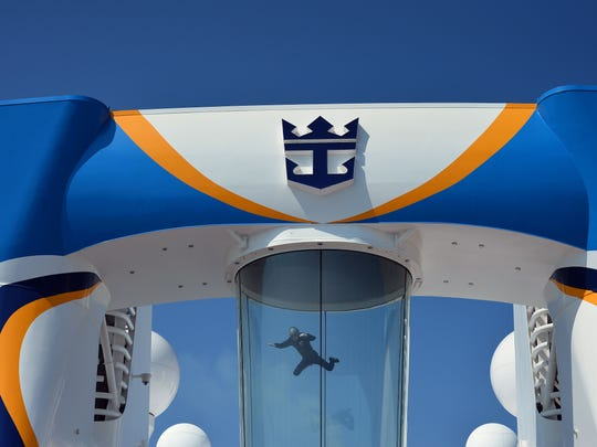 An instructor uses the skydiving simulator on board the Royal Caribbean's latest cruise liner, the Anthem Of the Seas. The ship is billed as the most technologically advanced cruise vessel ever. Besides the simulator, it boasts fast Internet speeds, an all-digital check-in process and the first bumper cars at sea.