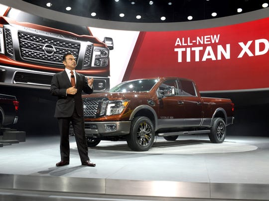 Nissan President and Chief Executive Officer Carlos Ghosn introduced the all-new Nissan TITAN full-size pickup to a standing room-only crowd of international media at the 2015 North American International Auto Show on Jan. 13.