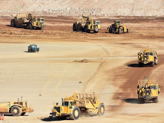 Dozens of pieces of heavy machinery were on the Tesla property in Tahoe-Reno Industrial Center on Wednesday, Nov. 5, 2014.