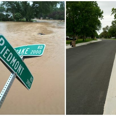 Left: Piedmont and Drake right after the flood. Right: