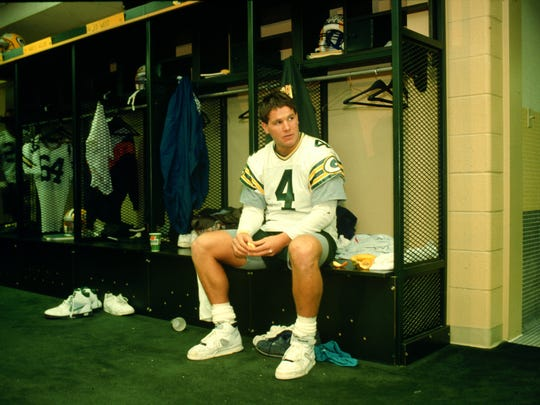 Packers quarterback Brett Favre is shown in 1992 in the team's locker room at Lambeau Field.