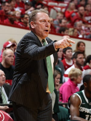 Michigan State basketball coach Tom Izzo works against the Indiana Hoosiers at Assembly Hall.