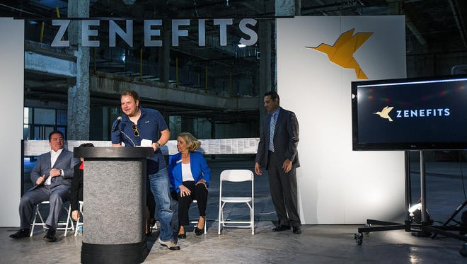 Parker Conrad, Zenefits CEO, makes a comment at the podium when Zenefits announced its expansion to Scottsdale in November 2014.
