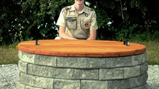 Boy Scout Alex Lucier, 16, of Troop 9 in Gardner recently led a project to design and build a donation box for retired U.S. flags and a burn pit so they can be disposed of properly at the Elks Club.
