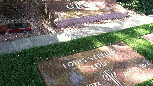 "Lou Grubb founded Grubb Automotive, one of the largest dealerships in Phoenix. He quickly became a household name in the 1970s and '80s for his ""Take Five"" radio and television commercials that showcased his soft and honest nature. He is at Hansen Desert Hills Mortuary and Memorial Park."