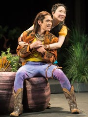 """Florizel (Moses Villarama) and Perdita (Cindy Im) are young lovers in Bohemia in Oregon Shakespeare Festival's """"The Winter's Tale"""" by William Shakespeare. The outdoor production reimagines Bohemia as a steampunk-inspired American Wild West. The show runs through Oct. 16 in Ashland."""