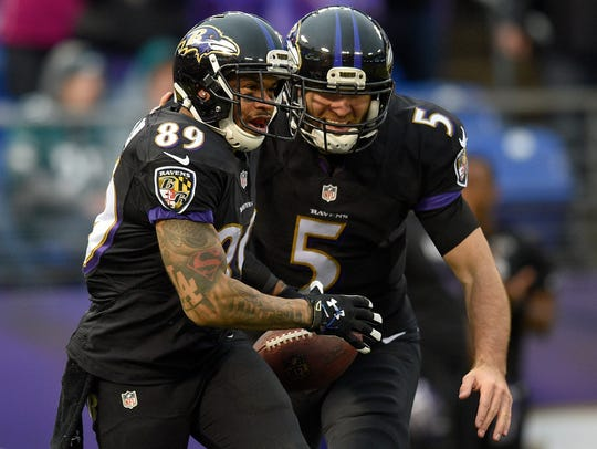 Baltimore Ravens wide receiver Steve Smith (89) celebrates