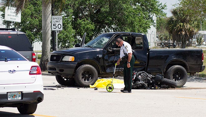 Scene of a fatal accident Thursday involving a motorcyclist and a vehicle at the intersection of Dr. Martin Luther King Jr. Blvd. and Flint Drive in Fort Myers. The motorcyclist was killed.