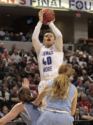 Sydney Moss of Thomas More hits the jumper just outside the paint.  The Thomas More Saints go back to back as Division III Women's National Champions with a big win over Tufts 51-63.  The National Title Game was played at Bankers Life Fieldhouse in Indianapolis on Monday, April 4.