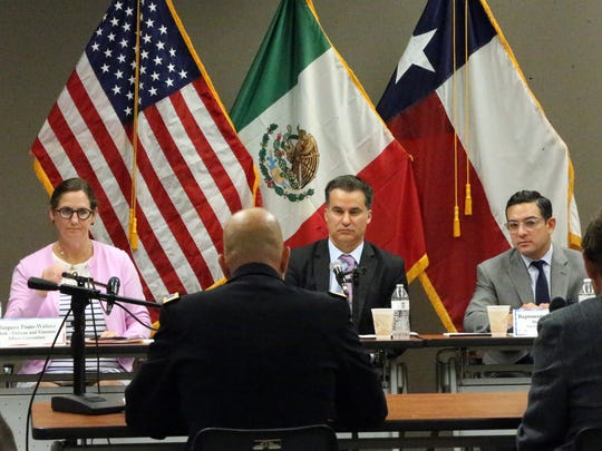 Col. Steve Murphy, new Fort Bliss garrison commander, speaks before the Texas House Defense and Veterans Affairs Committee on Tuesday at the Greater El Paso Chamber of Commerce office. Seated from left are: Margaret Frain-Wallace, committee clerk; committee chair Rep. Roland Gutierrez, center; and Rep. Cesar Blanco.