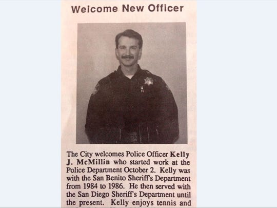 The City bulletin announcing Kelly McMillin's appointment as a Salinas Police Officer in 1988.
