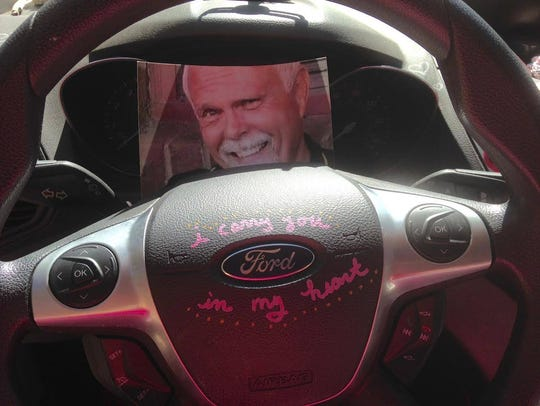 Chuck Dearing's picture rests behind the steering wheel