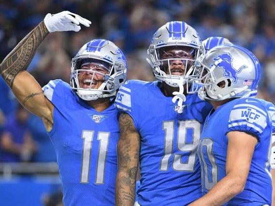 Sep 15, 2019; Detroit, MI, USA; Detroit Lions wide receiver Kenny Golladay (19) celebrates his touchdown with wide receiver Marvin Jones (11) and wide receiver Danny Amendola (80) during the second half against the Los Angeles Chargers at Ford Field. Mandatory Credit: Tim Fuller-USA TODAY Sports