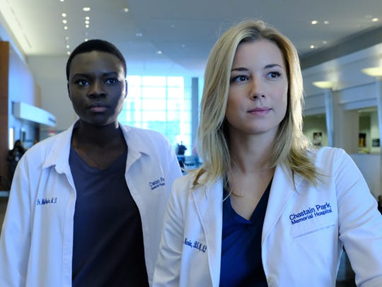 Shaunette RenŽe Wilson and Emily VanCamp in 'The Resident.'