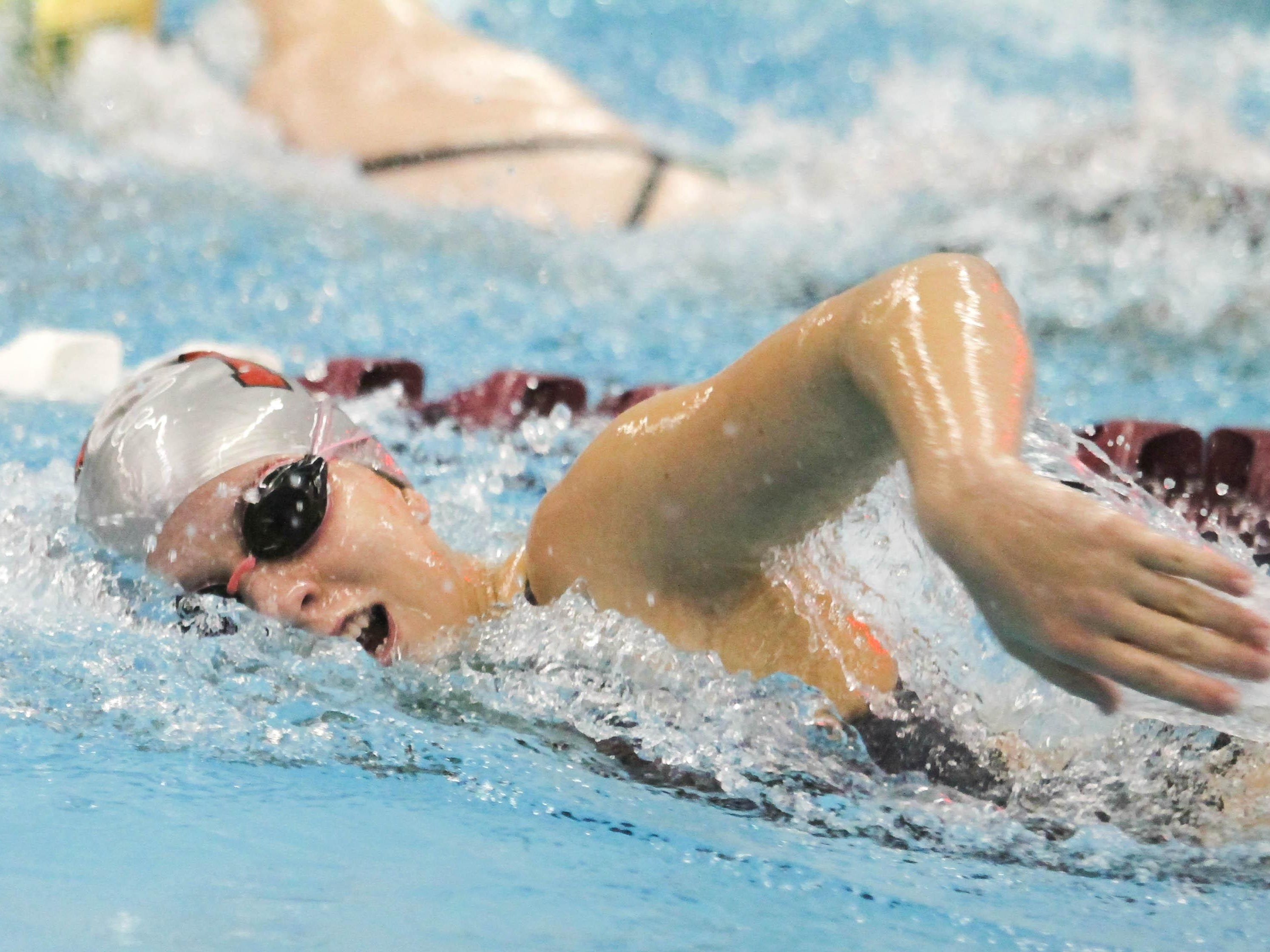 Morris Hills senior Kellyann Gangaware competes in the 200-yard freestyle during a meet with Morris Knolls.
