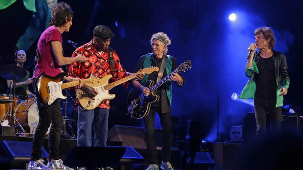 Mick Jagger, Keith Richards, Ronnie Wood, and Charlie Watts as The Rolling Stones Zip Code Tour kicks off Summerfest at the Marcus Amphitheater in Milwaukee in June 2015.