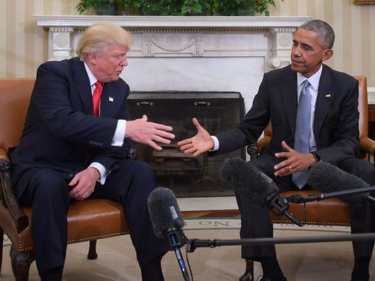 Former President Barack Obama and Republican President-elect