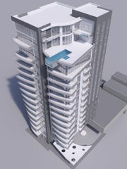 Miami-based developer JAXI, CMD announced Tuesday plans for ONE ALLURE, a new 15-story condo tower at 2583 First Street in downtown Fort Myers. The preliminary concept sketch shows one of the top-floor penthouses with a cantilevered pool.