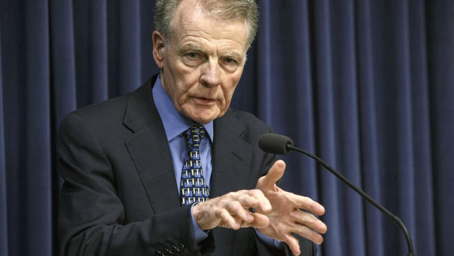 In this July 26, 2017, file photo, Illinois House Speaker Michael Madigan, D-Chicago, speaks at a news conference at the Capitol in Springfield.