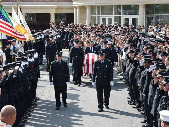 Firefighting personnel from all over Delaware, Pennsylvania and Maryland attended the funeral of Lewes firefighter Tim McClanahan.