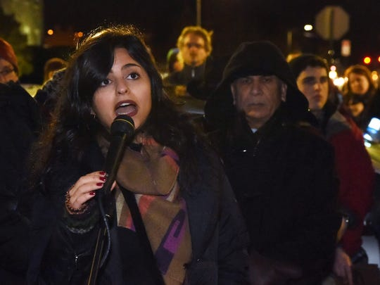 Sana Mustafa, a Syrian refugee, gives the keynote speech at the Mid-Hudson Solidarity March in the City of Poughkeepsie.