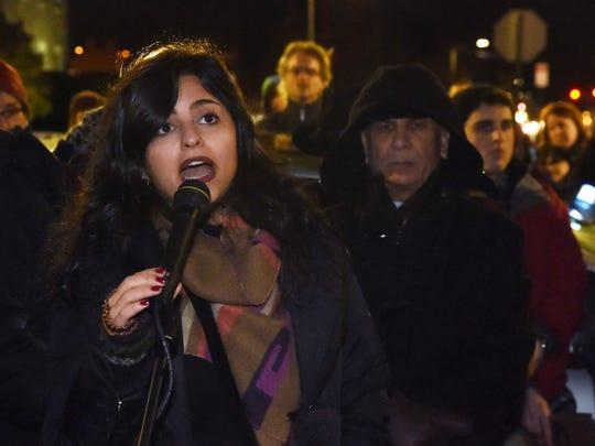 Sana Mustafa, a Syrian refugee, gives the keynote speech
