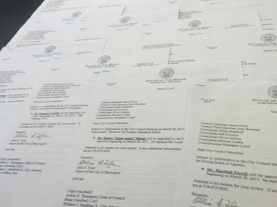 Letters Mayor Ollie Tyler sent to city council members