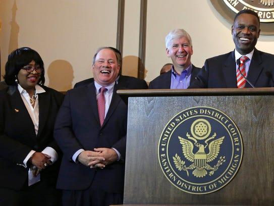 From left, Brenda Jones, Detroit city council president;