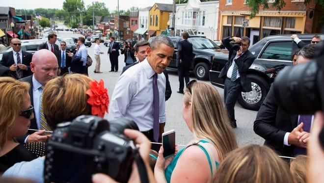 President Obama on Main Street in Parkville, Mo.