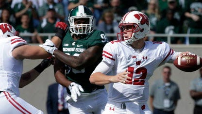 Wisconsin quarterback Alex Hornibrook was 16 for 26 for 195 yards and a touchdown against Michigan State.