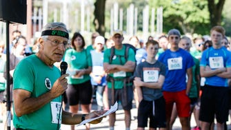 Adel B. Korkor, M.D., founder of the Five Fifty Fifty Run/Walk series, speaks to participants prior to the final race at St. John's Northwestern Military Academy in Delafield on Saturday, June 23, 2018. The mission of the Five Fifty Fifty Run/Walk series is to bring awareness and raise funds for the issue of mental health by holding fifty 5k run/walk events, one in each state, in fifty days.