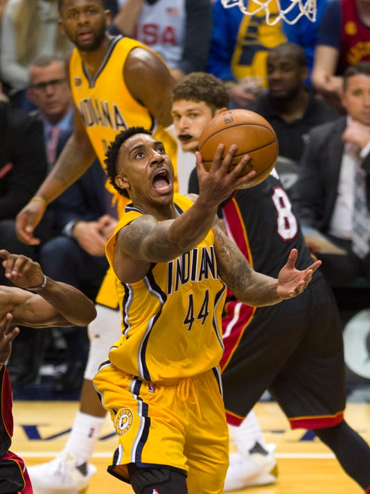 Indiana Pacers guard Jeff Teague (44) drives the ball to the basket to score during the second half of an NBA basketball game against the Miami Heat, Sunday, March 12, 2017, in Indianapolis. (AP Photo/Doug McSchooler)