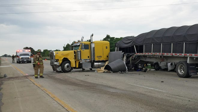 This semi is one of two vehicles involved in a serious crash, Thursday, July 16, 2015, on U.S. 231 at Veterans memorial Parkway.