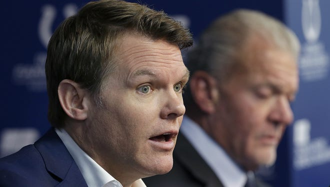 Indianapolis Colts general manager Chris Ballard  talks to the media about the firing of head coach Chuck Pagano and the search for a new head coach at the Indiana Farm Bureau Football Center Monday, Jan 1, 2018. Colts owner and CEO Jim Irsay,right, listens.