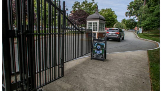 Providence College gates on Eaton Street.