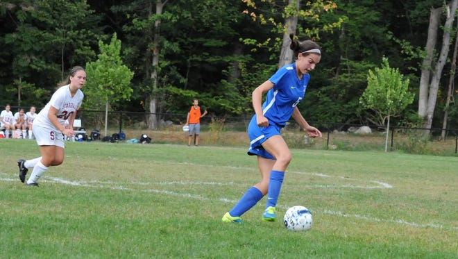 Bronxville junior Beth Finley (right) controls the ball during a game against Scarsdale on Wednesday, September 9th, 2015.