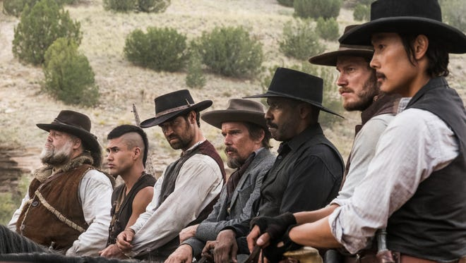 "(From left) Vincent D'Onofrio, Martin Sensmeier, Manuel Garcia-Rulfo, Ethan Hawke, Denzel Washington, Chris Pratt and Byung-hun Lee star in ""The Magnificent Seven."""
