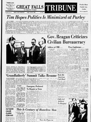 Front page of the Great Falls Tribune on Sunday, June 25, 1967.