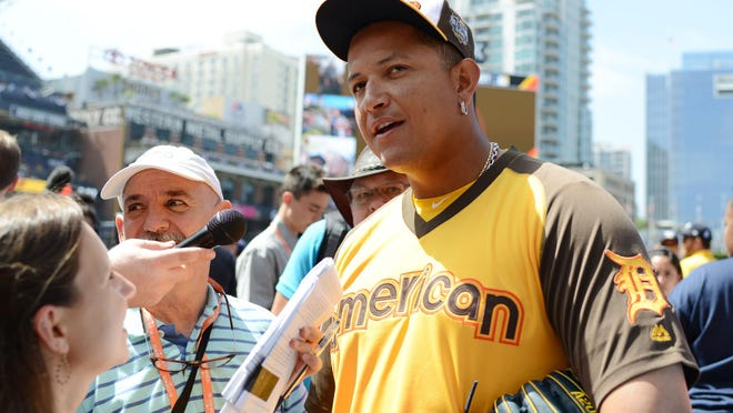 Jul 11, 2016; San Diego, CA, USA; American League infielder Miguel Cabrera (24) of the Detroit Tigers is interviewed during workout day before the MLB All Star Game at PetCo Park. Mandatory Credit: Jake Roth-USA TODAY Sports