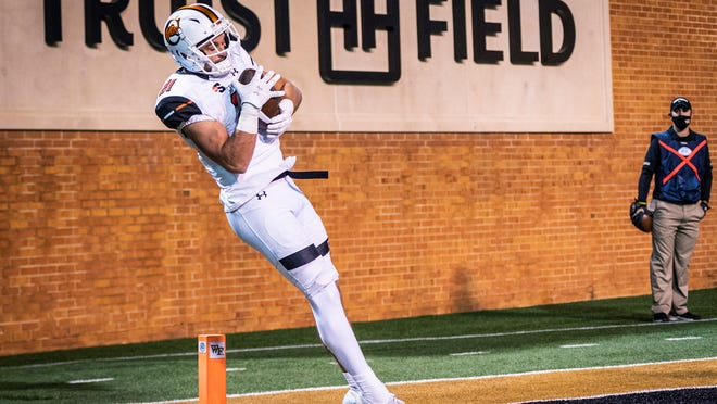 Wide receiver Mason Donaldson accounted for both of Campbell's touchdowns against Wake Forest on Friday night, including this toe-tap score that put the Camels on the board. But his second touchdown, a pass to quarterback Hajj-Malik Williams, had social media buzzing.